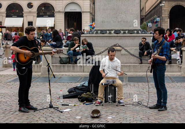 Street band playing on the San Carlo square in Turin, Italy - Stock Image