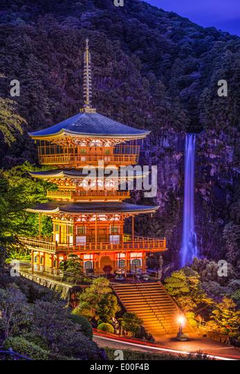 Nachi, Japan at Nachi Taisha Shrine Pagoda and waterfall. - Stock Image