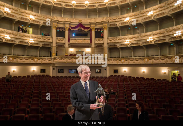 Former Soviet officer Stanislav Petrov holds the 'Dresden Prize' in the Semper Opera in Dresden, Germany, - Stock Image
