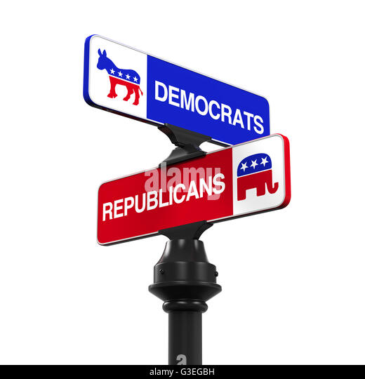 Democrats Republicans Direction Sign - Stock Image