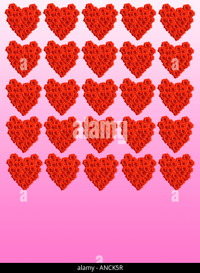 Valentine Hearts made up of red roses - Stock Image
