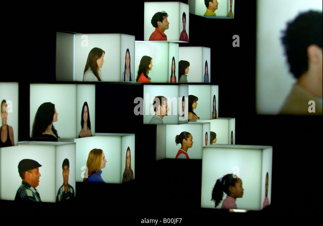 PORTRAITS. COSMOCAIXA (MUSEUM OF SCIENCE). BARCELONA, SPAIN - Stock-Bilder