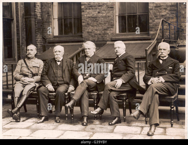 Signatories of the peace  treaties at Paris (left to  right): Foch, Clemenceau,  Lloyd George, Orlando and  Sonnino. - Stock Image