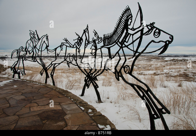 Bronze tracing sculptures of warriors, Indian Memorial, Little Bighorn Battlefield National Monument, Crow Agency, - Stock Image