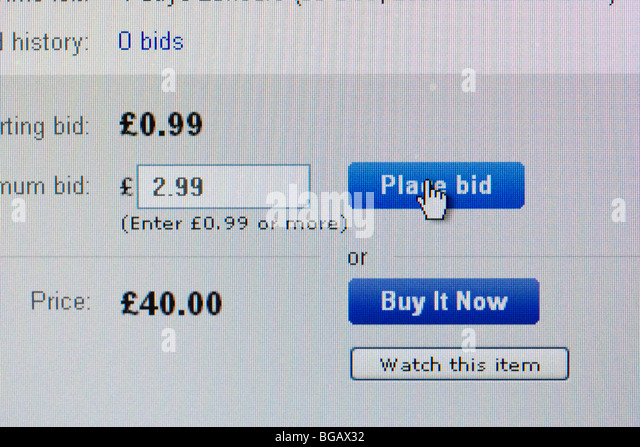 screenshot of placing bid on ebay online auction website for editorial use only - Stock Image