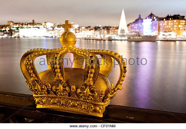 Famous crown on Skeppsholmsbron - Stock-Bilder