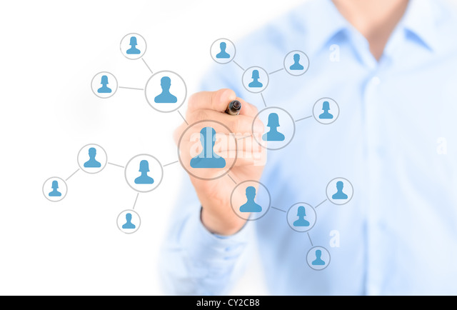 Businessman drawing social network connection concept - Stock-Bilder