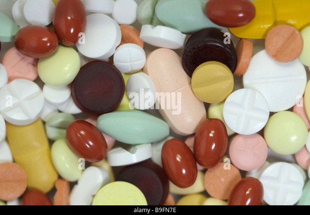 Colorful tablets - Stock Image