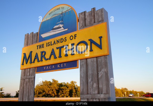 Florida Florida Keys US Route 1 One Overseas Highway Vaca Key Marathon sign welcome entrance - Stock Image