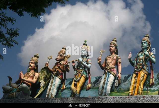 Vishnu avatar statues , Sri Srinivasa Perumal Temple , Singapore , South East Asia - Stock Image