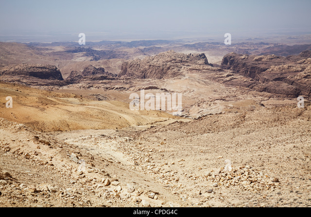 The rugged landscape at Petra, Jordan, Middle East - Stock Image