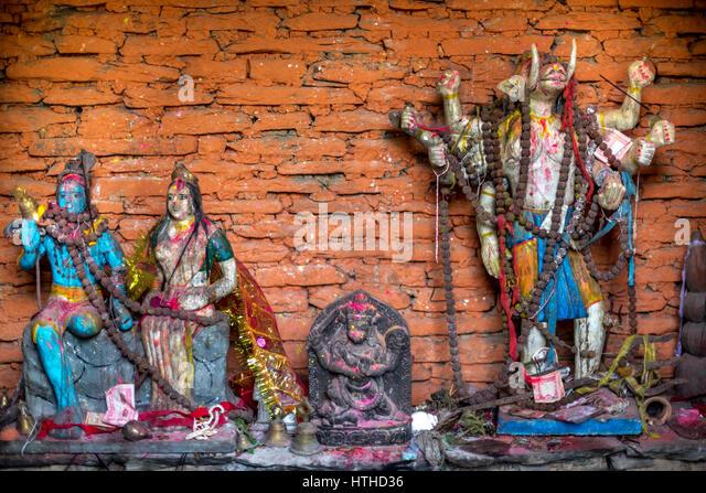 Hindu deities inside a temple on the Panchase Lakeside, Panchase Mountain, Nepal. © Reynold Sumayku - Stock Image