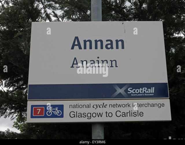 Annan Railway Sign, Dunfries & Galloway,Scotland,UK - Stock Image