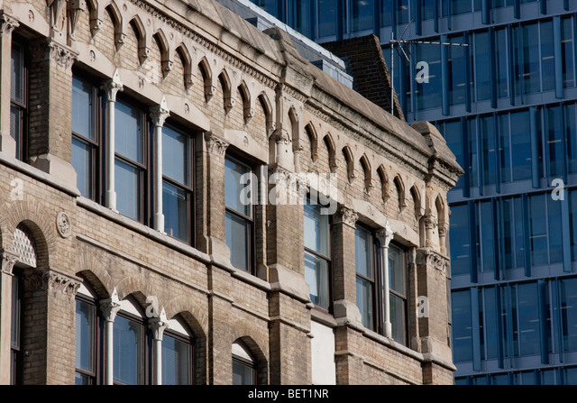 Contrasting building styles in Southwark, London England - Stock Image