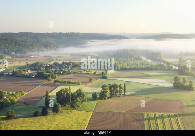 Morning mist over the Dordogne; France - Stock Image