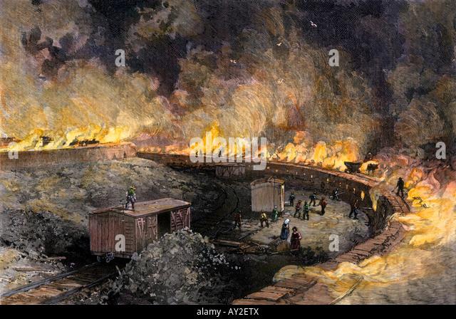 Steel industry workers at the coke furnaces of Pennsylvania 1880s - Stock-Bilder