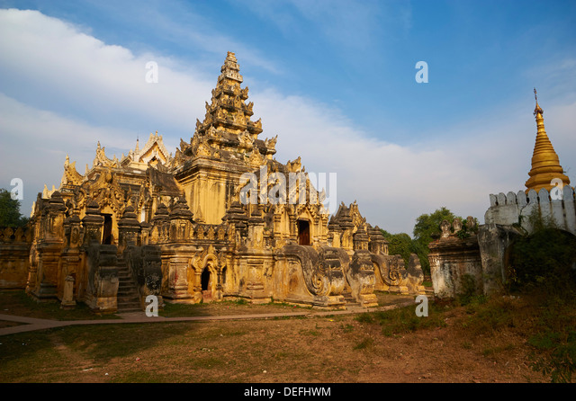 Maha Aungmye Bonzan monastery (Kyuang Ok), dating from the Ava period, in the old capital of Inwa, Mandalay, Myanmar - Stock Image