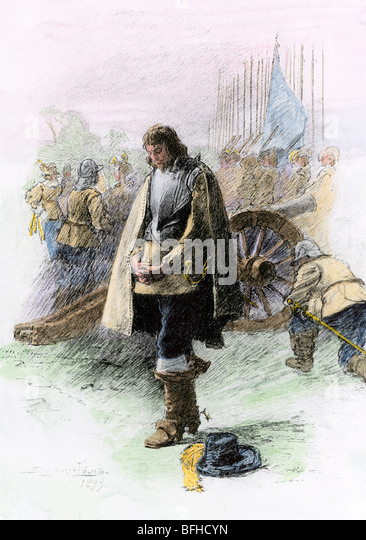 Cromwell in prayer before the Battle of Edgehill, English Civil War, 1642 - Stock Image