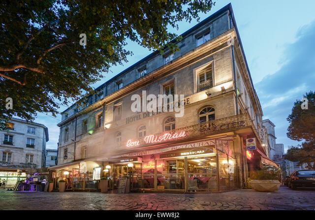 Street Cafe, Restaurant,  Place De La Horloge, Avignon, Bouche du Rhone, France - Stock Image