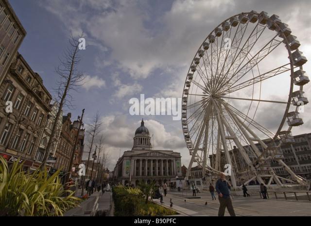 Nottingham Main Market Square and Big Wheel - Stock Image