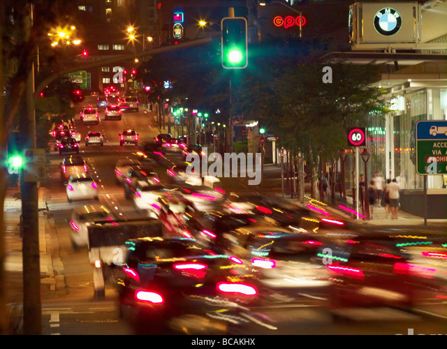 Traffic in Fortitude Valley Brisbane - Stock Image
