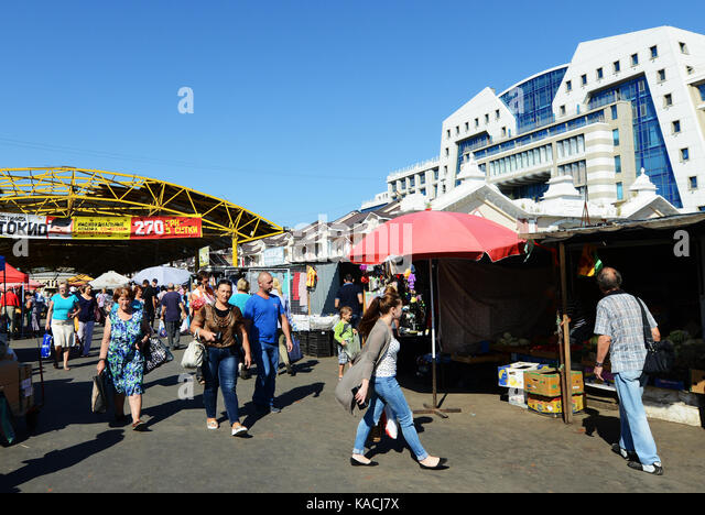 Pryvoz Market is a sprawling market dating back to 1827 selling fresh produce, secondhand goods & cheap clothing. - Stock Image