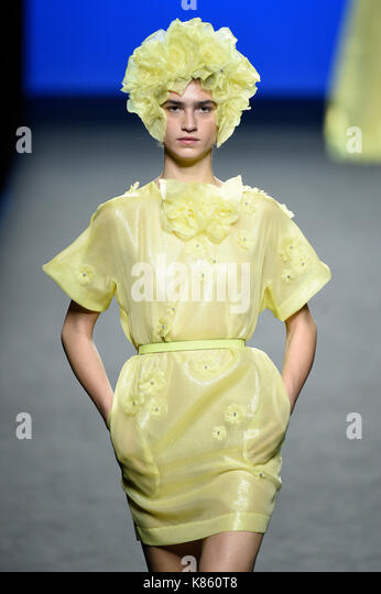 """Madrid, Spain. 18th Sep, 2017. Model wears at collection runway a creation from """"The 2nd Skin Co' during Pasarela - Stock Image"""