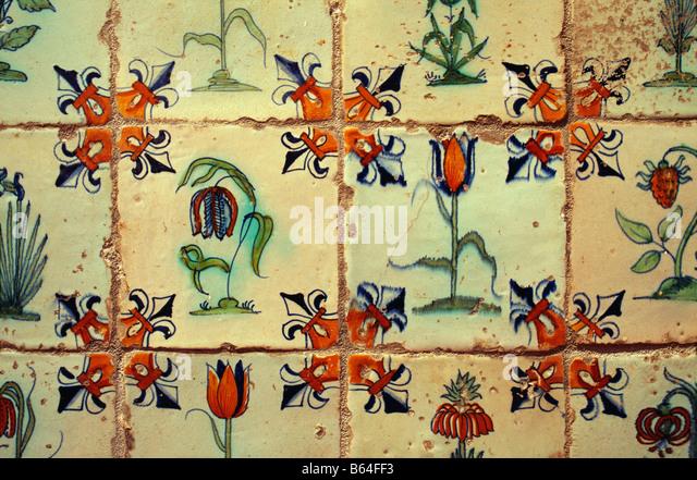 Holland, The Netherlands, Delft. Museum: Lambert van Meerten. Delftware tiles. - Stock Image