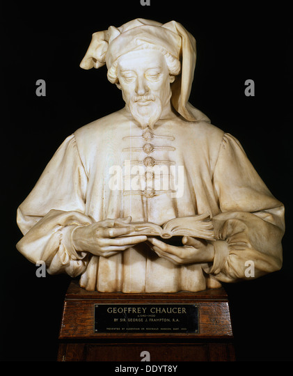 Bust of Geoffrey Chaucer, medieval English poet, 1902-1903. Artist: George Frampton - Stock Image