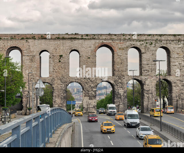 Istanbul, Turkey - April 21, 2017: Valens Aqueduct a Roman aqueduct which was the major water providing system of - Stock Image