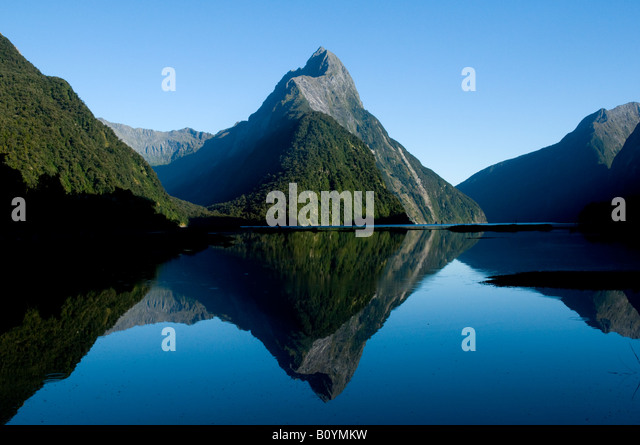 Mitre Peak, Milford Sound, Fjordland, South Island, New Zealand - Stock Image