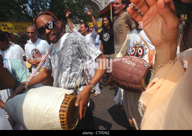 New York, NY - Hare Krishna Feast of the Charriots in Washington Square Park - Stock Image
