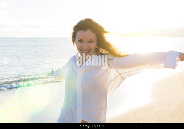 Portrait of Woman on the beach - Stock-Bilder