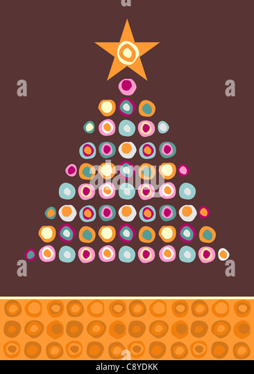 Christmas tree made of multicolored circles with a star on the top on purple background. Vector file available. - Stock Image