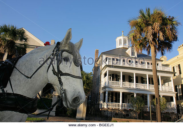 Charleston South Carolina National Historic Landmark Historic District preservation The Battery house home mansion - Stock Image