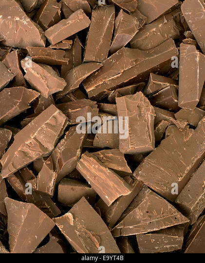 pile of pieces of chocolate - Stock Image
