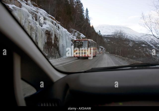 Four wheel drive on mountain pass, Rjukan, Norway - Stock Image