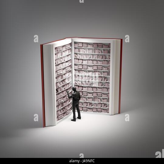 Book shaped bookshelf - 3d illustration - Stock-Bilder