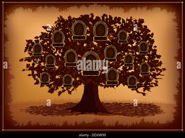 Vector family tree with frames and leafs. Place for text. - Stock-Bilder