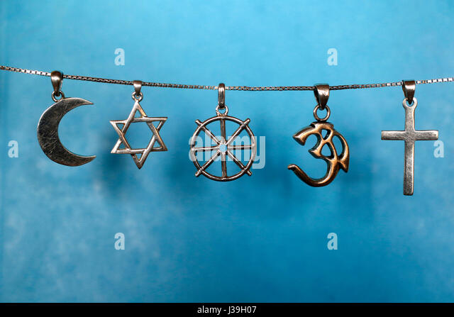 Symbols of islam, judaism, buddhism, hinduism and christianity. - Stock Image