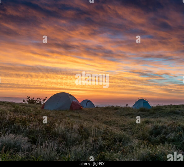 Three Tents At First Light in the North Carolina mountains - Stock Image