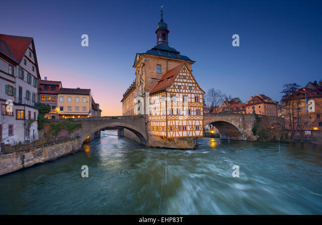Bamberg. City of Bamberg during sunset. UNESCO World Heritage and famous for its medieval appearance. - Stock Image