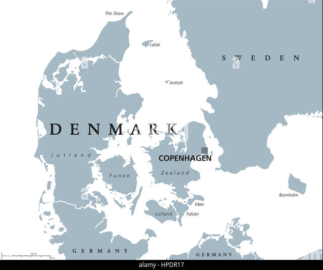 Denmark political map with capital Copenhagen and neighbor countries. Kingdom, Scandinavian and Nordic country in - Stock Image