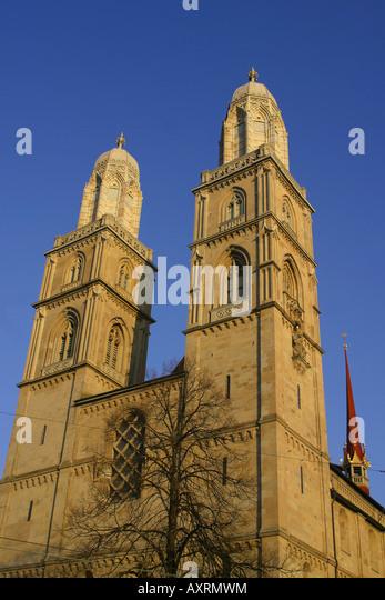Switzerland Zuerich Grossmuentser kathedral Zuerich Grossmuenster - Stock Image