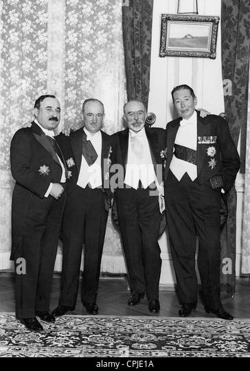 Jeftici, Benesch, Barthou and Titulescu in Bucharest, 1934 - Stock Image