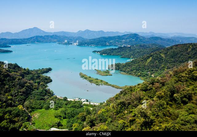 Panorama of Sun Moon Lake from Ropeway cable car gondola, from Bujishan, near the Formosan Aboriginal Village, Taiwan. - Stock Image