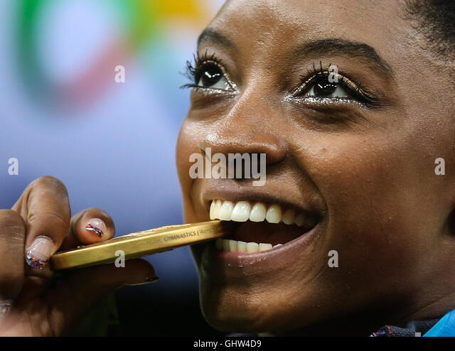 Rio De Janeiro, Brazil. 11th Aug, 2016. Gold medalist Simone Biles of the USA at an award ceremony for the artistic - Stock Image