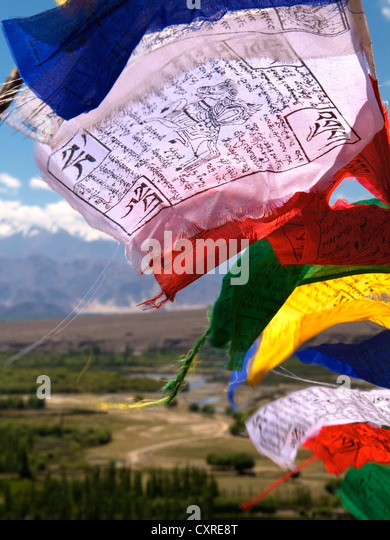 Buddhist prayer flags blowing in the wind, Ladakh, northern India, India, Asia - Stock-Bilder