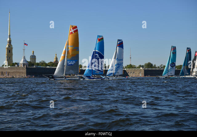 St. Petersburg, Russia, 21st August, 2015. Extreme 40 catamarans compete during the 2nd day of St. Petersburg stage - Stock Image