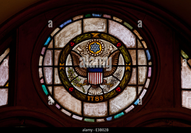 The Great Seal of the United States in stained glass - Stock Image